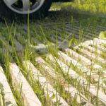herbe qui pousse entre les lattis des caillebotis ecopark