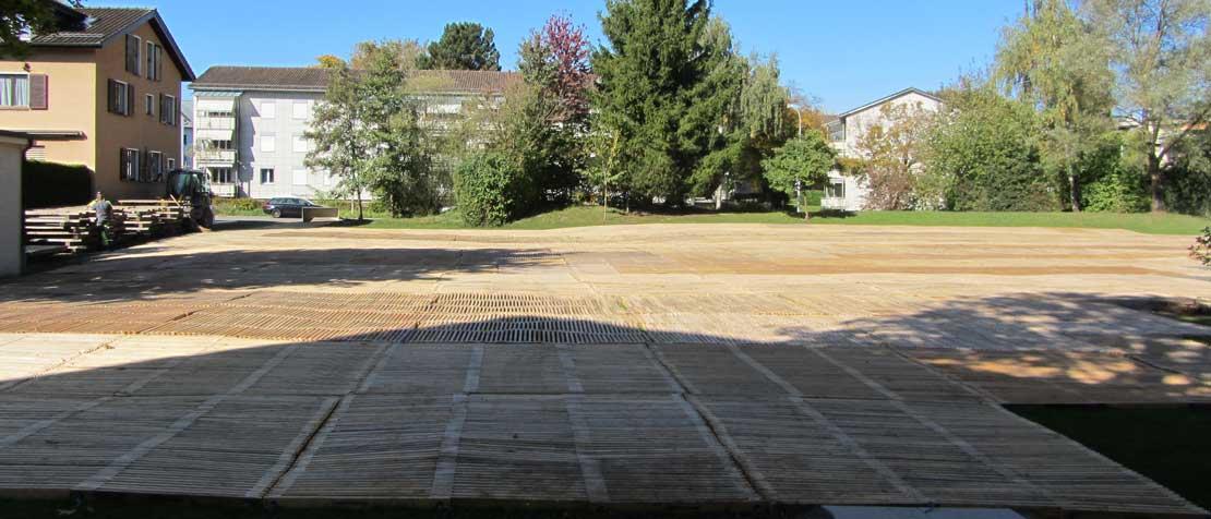 ecopark Parkplatz bei Umbau auf Rasen