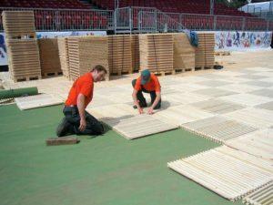 Aufbau ecoplate UBS Arena