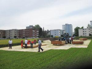 SRO Spital Langenthal Verlegen ecopark Holzroste für Parking
