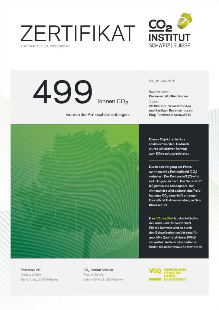 O2-Zertifikat des CO2-Instituts Schweiz für 499 TO Objekt: Nachhaltiger Bodenschutz für das ETF 2019 in Aarau; mit Holzrosten von Passareco