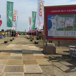 Lakelivefestival 2019 à Bienne, entrée avec caillebotis du Passareco
